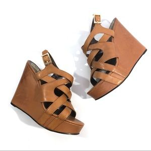 Vince Camuto Brown Leather Wedges Strappy Size 8.5
